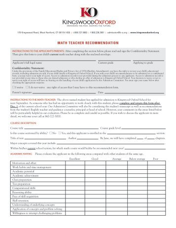 Math Teacher Recommendation Form - Kingswood Oxford School