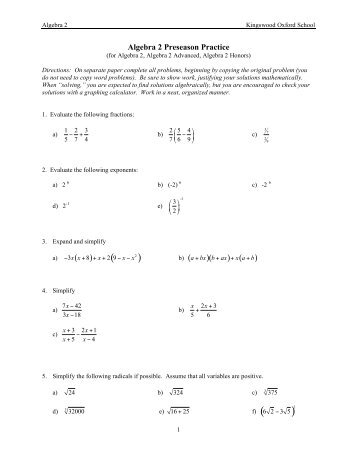 Printables Algebra 1 Honors Worksheets algebra 1 honors worksheets intrepidpath 2 summer packet answer key for kids teachers