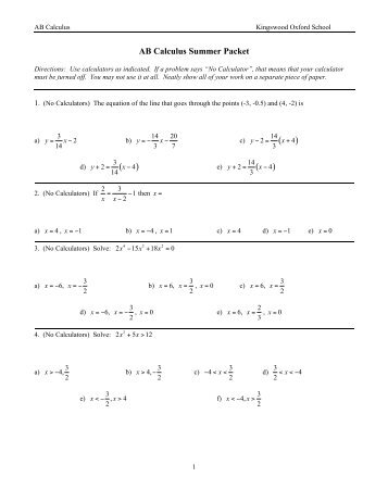 AB Calculus Summer Packet 10-11 - Kingswood Oxford School
