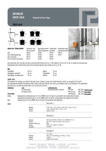 Datablad for SALA - Kinnarps
