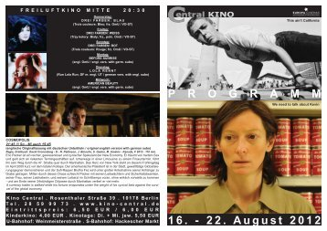 16. - 22. August 2012 P R O G R A M M - Central-Kino