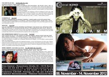 08. November - 14. November 2012 P R O G R A M M - Central-Kino