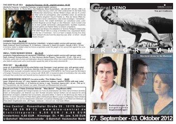 27. September - 03. Oktober 2012 P R O G R A M M - Central-Kino