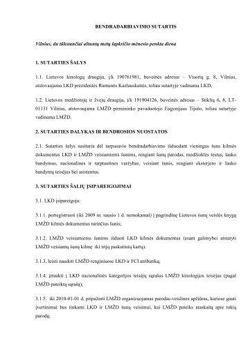 BENDRADARBIAVIMO SUTARTIS - Lietuvos kinologų draugija