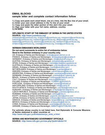 EMAIL BLOCKS sample letter and complete contact ... - Kinship Circle