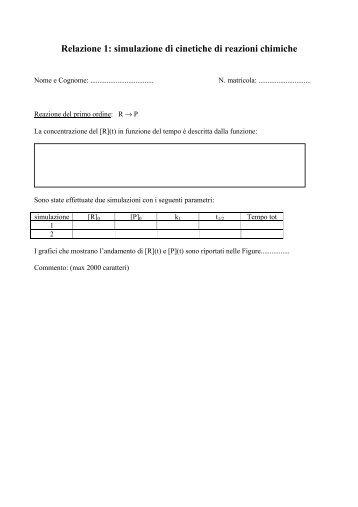 Relazione 1: simulazione di cinetiche di reazioni chimiche - Kintecus