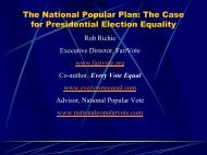 The National Popular Plan: The Case for Presidential Election Equality