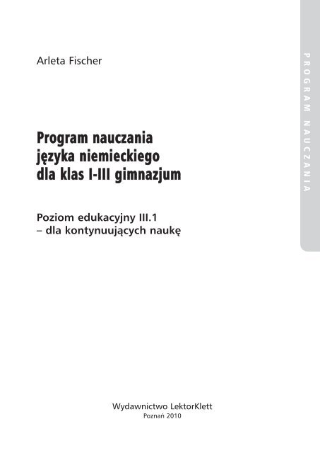 Program Nauczania Jäzyka Niemieckiego Dla Klas I Iii