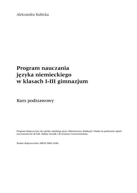Program Nauczania Jâzyka Niemieckiego W Klasach I Iii