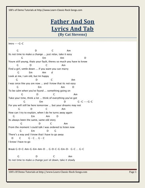 Father And Son Lyrics And Tab Kirbys Covers For Country