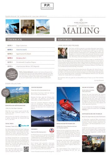 Eiger Collection Mailing Sommer 2012 PDF - Hotel Kirchbühl
