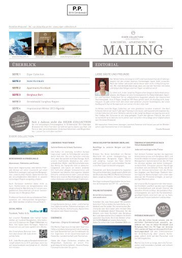 Eiger Collection Mailing Sommer 2013 PDF - Hotel Kirchbühl