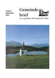 Gemeindebrief August/September 2012 - Evangelische Kirche Asslar