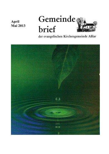April Mai 2013 - Evangelische Kirche Asslar