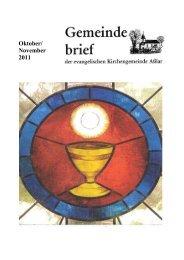 Gemeindebrief Oktober/November 2011 - Evangelische Kirche Asslar