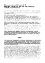Predigt zur Konfirmation 2012 - Kirchgemeinde Bernitt