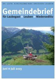 Gemeindebrief Juni/Juli 2013 - Ev.-Luth. Kirchgemeinde Dresden ...