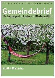 Gemeindebrief April / Mai 2010 - Ev.-Luth. Kirchgemeinde Dresden ...