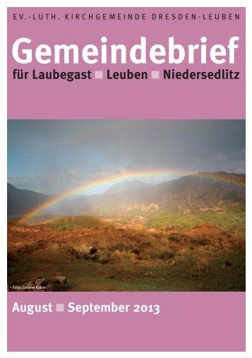 Gemeindebrief August/September 2013 - Ev.-Luth. Kirchgemeinde ...