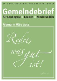 Gemeindebrief Februar / März 2014 - Ev.-Luth. Kirchgemeinde ...