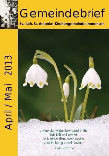 April - Mai 2013 - Kirche Immensen