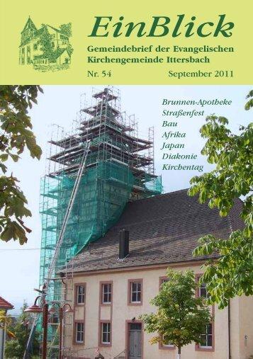 EinBlick Nr 54, September 2011 - Evangelische Kirchengemeinde ...