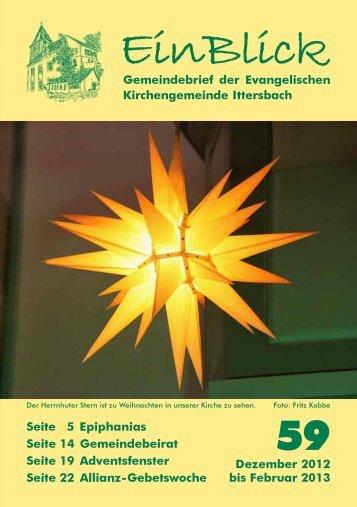 EinBlick Nr 59, Dezember 2012 - Evangelische Kirchengemeinde ...