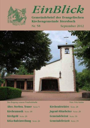 EinBlick Nr 58, September 2012 - Evangelische Kirchengemeinde ...