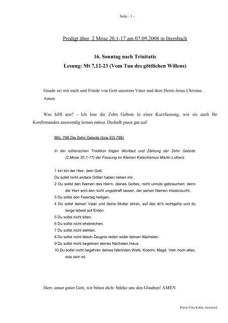 Predigt über 2 Moses 20 am 07.09.2008 - Evangelische ...