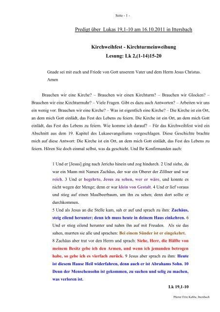 Predigt über Lukas 19 zur Kirchweih am 16.10.2011