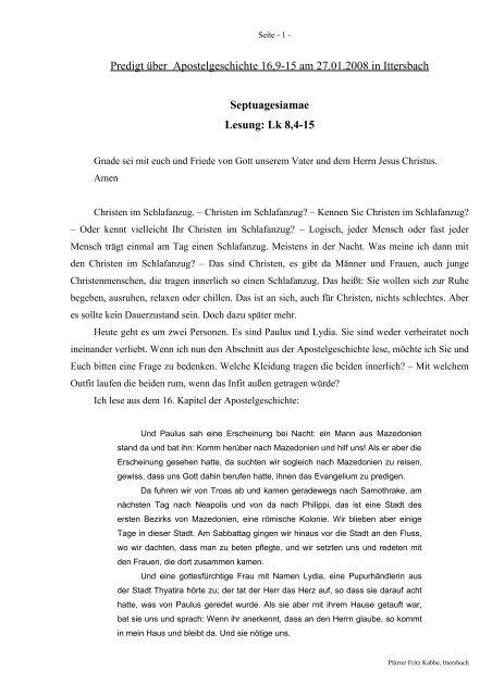 Predigt über Apg 16 am 27.01.2008 - Septuagesiame