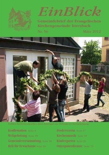 EinBlick Nr 56, März 2012 - Evangelische Kirchengemeinde Ittersbach