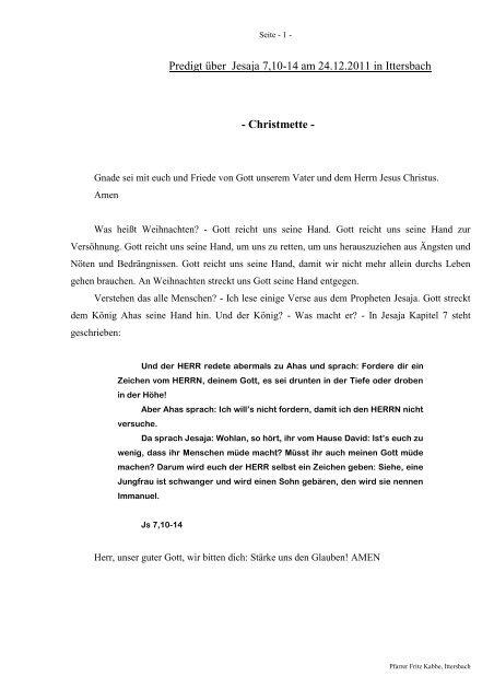 Predigt über Jesaja 7 in der Christmette am 24.12.2011