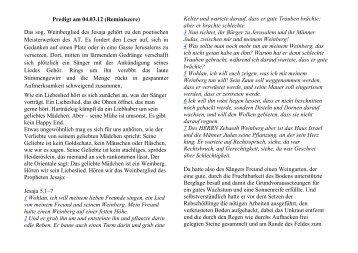Predigt am 04.03.12 (Reminiszere) Das sog. Weinberglied des ...