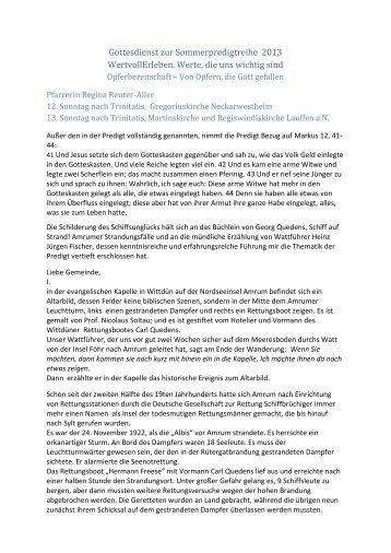 25. August 2013 - Ev. Kirchengemeinde Lauffen