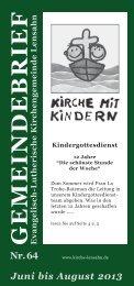Gemeindebrief Nr. 64 Juni - August 2013 - Kirchengemeinde Lensahn