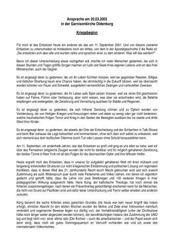 Ansprache in der Garnisonkirche Oldenburg zum Kriegsbeginn