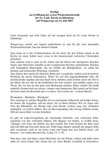 Predigt zur Eröffnung der ersten Wiedereintrittsstelle der Ev.-Luth ...