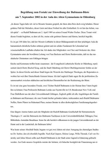Übergabe der Büste Rudolf Bultmanns von Pfarrer Reinhard Rittner
