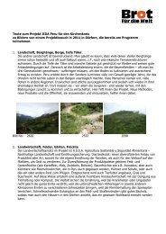 Texte zum Projekt IIDA Peru für den Kirchenkreis zu Bildern von ...