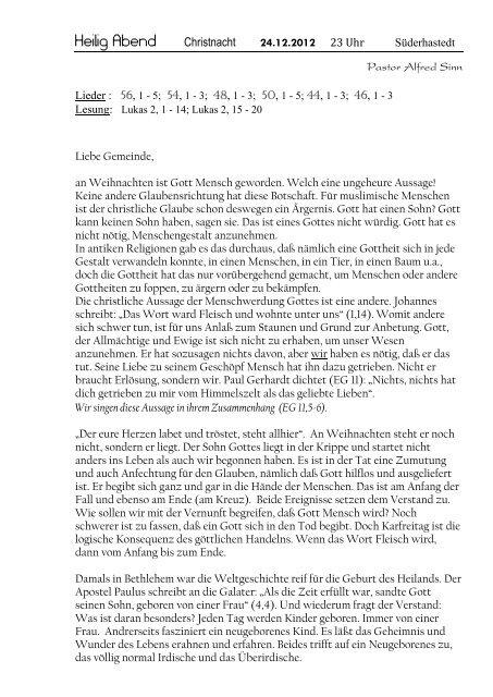 Heilig Abend Christnacht 24.12.2012 - hier
