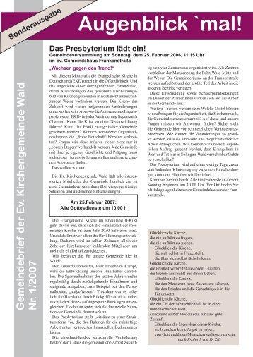 Sonderausgabe 2007-1.indd - Evangelische Kirchengemeinde Wald