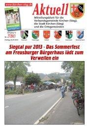 Aktuelles Mitteilungsblatt 27/2013 - Verbandsgemeinde Kirchen, Sieg