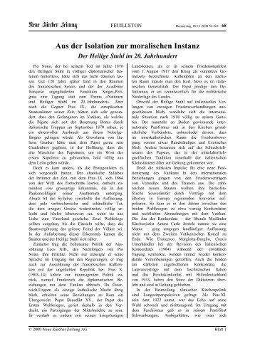 Aus der Isolation zur moralischen Instanz - Kirchen.ch