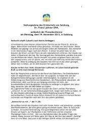 Stellungnahme des Erzbischofs von Salzburg, Dr. Franz Lackner ...