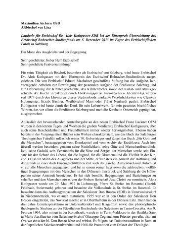 Maximilian Aichern OSB Altbischof von Linz Laudatio für Erzbischof ...