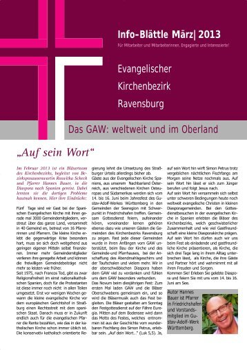 Das GAW weltweit und im Oberland - Evangelischer Kirchenbezirk ...
