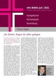 Juli 2011: Thema Segen - Evangelischer Kirchenbezirk Ravensburg