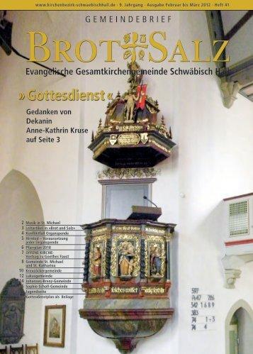 Gottesdienst « - Evangelischer Kirchenbezirk Schwäbisch Hall