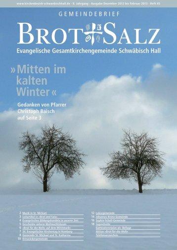 Mitten im kalten Winter - Evangelischer Kirchenbezirk Schwäbisch Hall